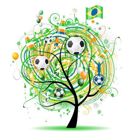 world player: Dise�o de �rbol de f�tbol, bandera brasile�a