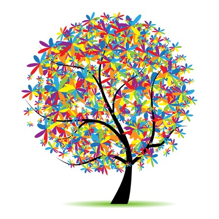 beautiful summer growth: Art tree beautiful for your design Illustration
