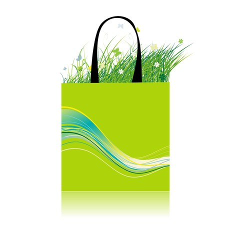 Green grass in bag, ecology Vector