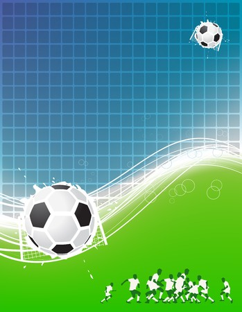 Football background for your design. Players on field, soccer ball Vector