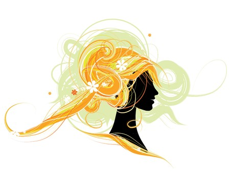 Woman head silhouette, hairstyle design Vector