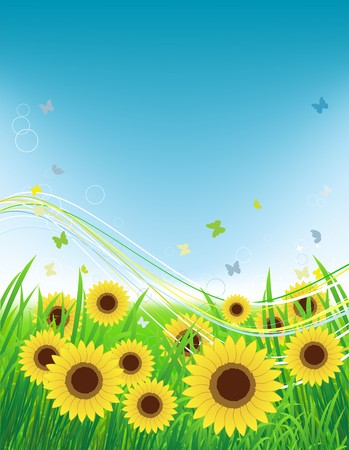 Summer meadow, sunflowers field and butterflies Vector