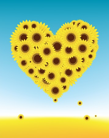 Sunflowers heart shape for your design, summer field Vector