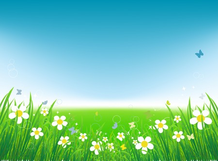 Green field with butterflies, summer background Stock Vector - 7509288