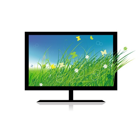 Summer meadow on monitor tv Vector
