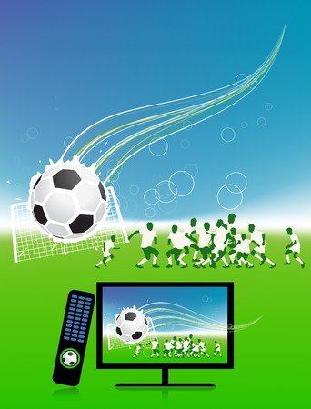 Football match  on tv sports channel Vector