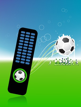 Football players on field, soccer ball and control console Vector