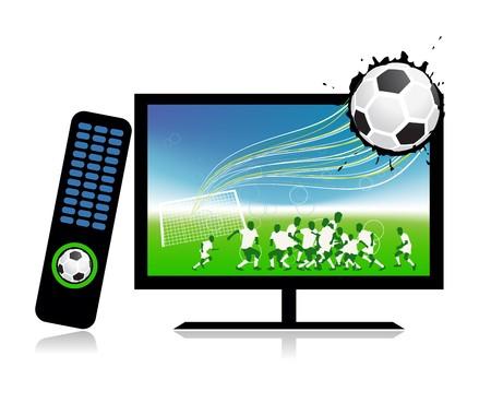football match: Partita di calcio sul canale sport tv  Vettoriali
