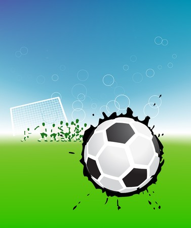 Football players on field, soccer ball Vector