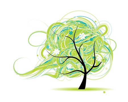 tree line: Art tree beautiful for your design Illustration