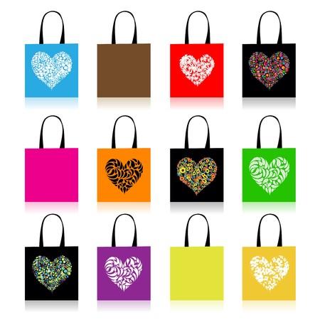 Shopping bags design, floral heart shape Vector