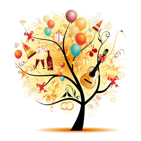beauty birthday:  Happy celebration, funny tree with holiday symbols  Illustration