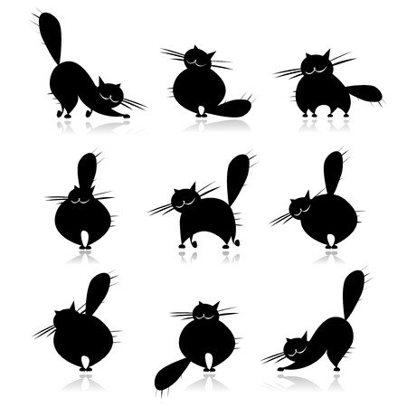 cat tail: Funny black fat cats silhouettes for your design Illustration