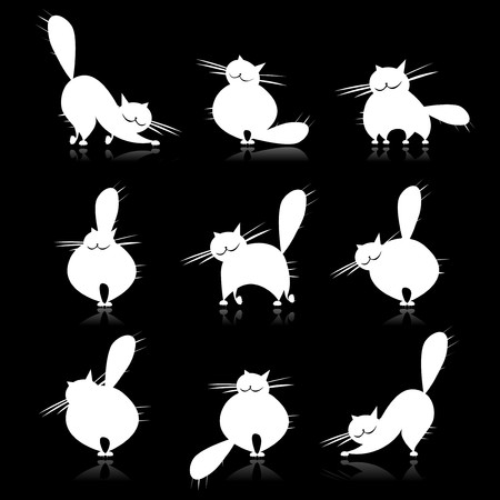 big cat:  Funny white fat cats silhouettes for your design