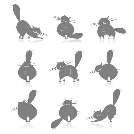 Funny grey fat cats silhouettes for your design Vector