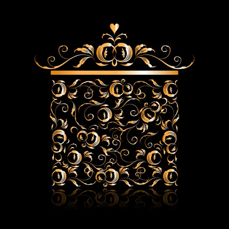 Golden gift box stylized, floral ornament design Stock Vector - 7715282