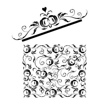 Opened gift box stylized, floral ornament design  Vector