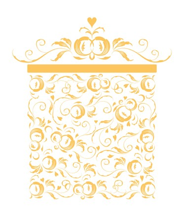 Golden gift box stylized, floral ornament design  Vector