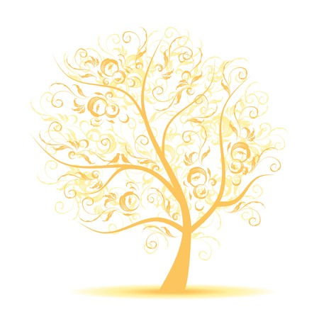 gold floral: Art tree beautiful, black silhouette  Illustration