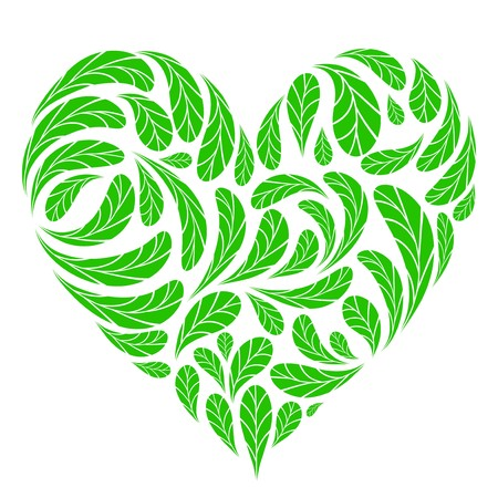 Leaves green heart shape for your design Vector