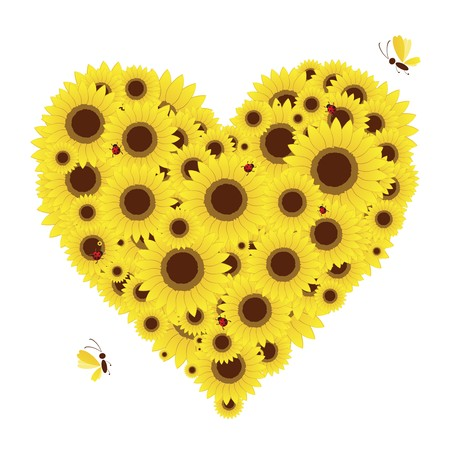 Heart shape with sunflowers for your design Vector