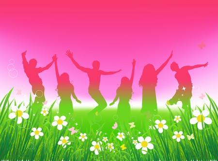 Grappige mensen dansen op het groene veld