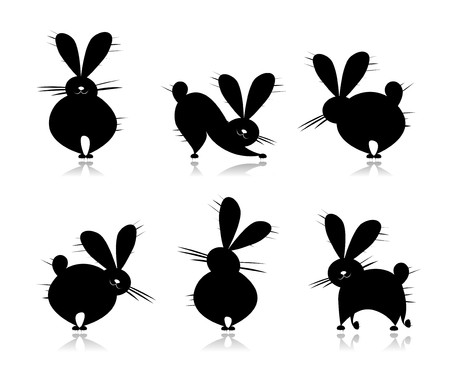 Funny rabbit's silhouettes for your design Stock Vector - 7715250