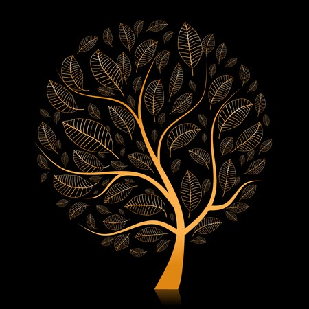 Golden tree beautiful for your design Stock Vector - 7715295