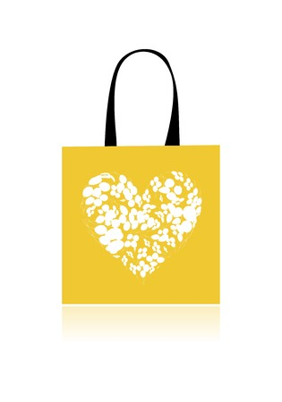 Shopping bag design, floral heart shape Vector