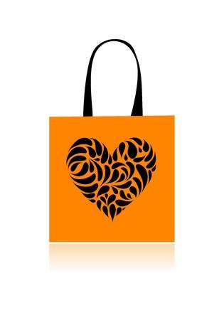 Shopping bag design, floral heart shape Vector