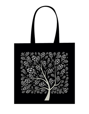 plastic art: Shopping bag design, art tree