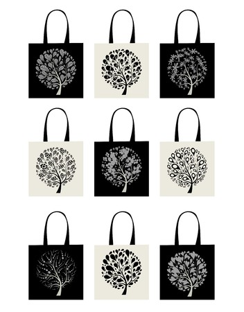 Shopping bag collection, art tree design Stock Vector - 7770178