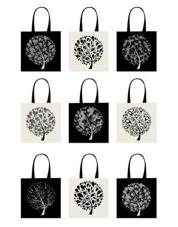 Shopping bag collection, art tree design Stock Vector - 7770178