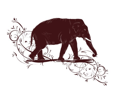 Elephant sketch decorated floral design Vector