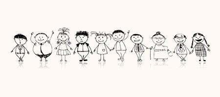 Feliz gran familia sonriendo juntos, dibujo