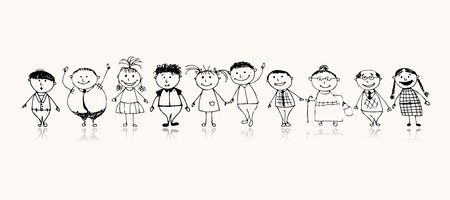 family together: Happy big family smiling together, drawing sketch