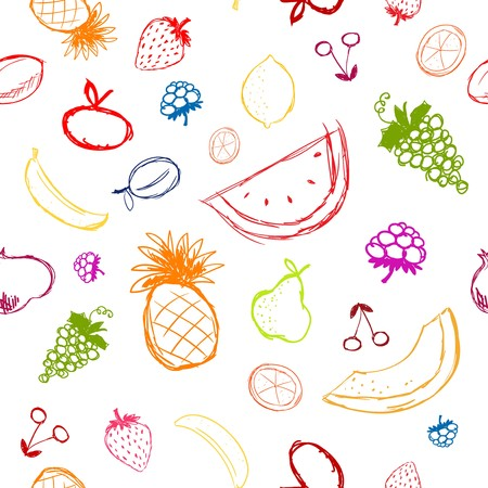 Fruits and berries sketch, seamless background for your design Vector