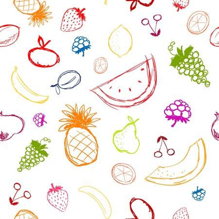 abstract fruit: Frutas y bayas esbozar, fondo transparente para su dise�o