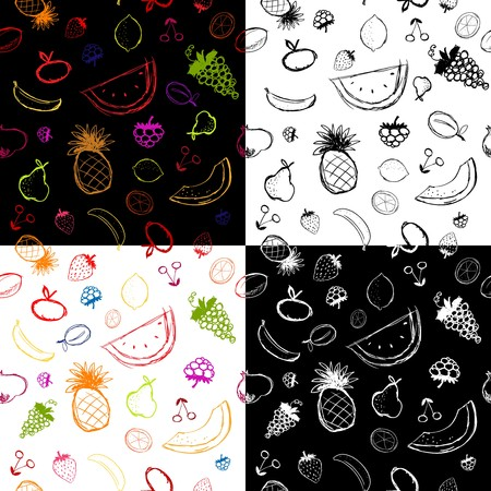 green apple slice: Fruits and berries sketch, seamless background for your design
