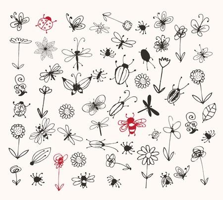 flea: Colecci�n de insectos de esbozo para su dise�o