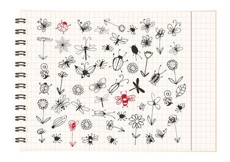 escarabajo: Colecci�n de insectos de esbozo para su dise�o