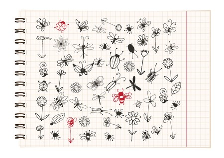 stinger: Insect sketch collection for your design Illustration