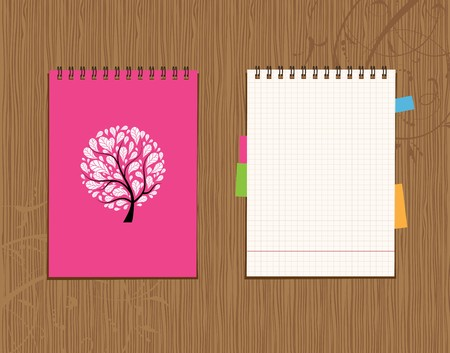 Notebook cover and page design on wooden background  Stock Vector - 7770157
