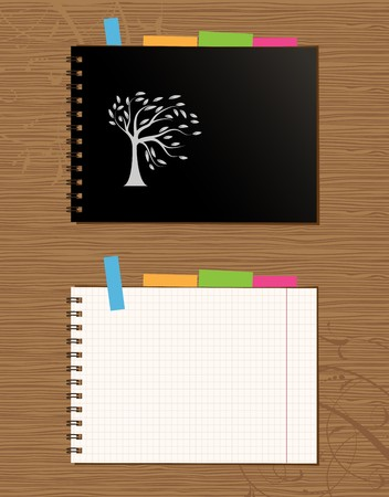 Notebook cover and page design on wooden background Stock Vector - 7770153