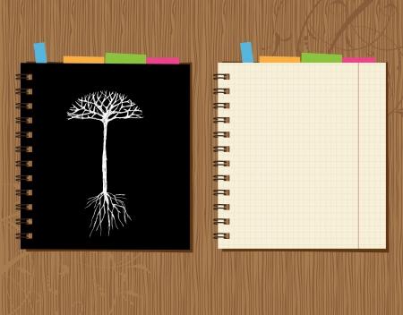 cuaderno espiral: Dise�o de portada y p�gina de Bloc de notas sobre fondo de madera