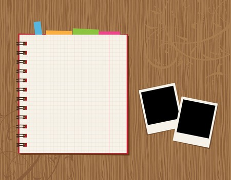 Notebook page design and photos on wooden background  Vector
