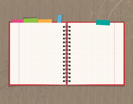 Notebook open page design on wooden background Stock Vector - 7770161