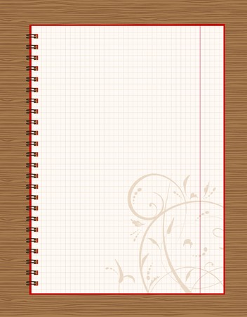 Notebook open page design on wooden background  Stock Vector - 7770146