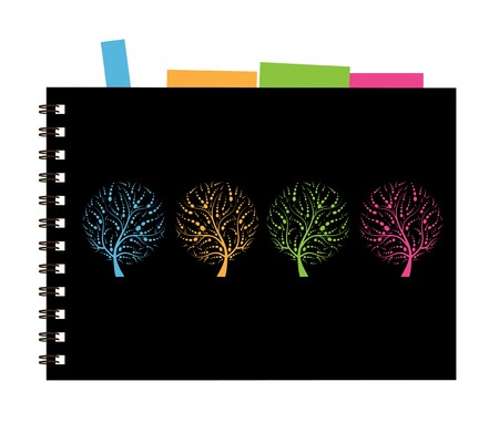 Notebook cover design, art tree Vector