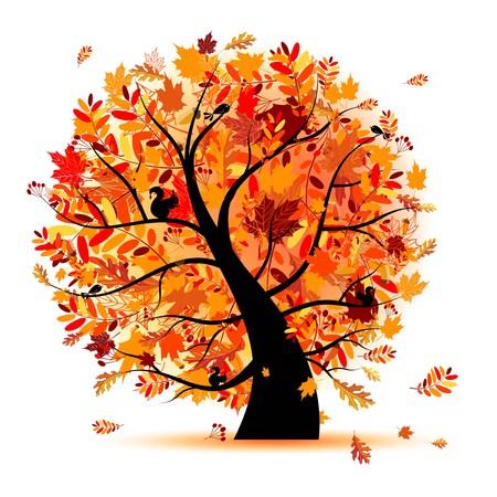 foglie di quercia: Bellissimo albero autunno per la progettazione